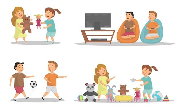 Conjunto de crianças brincando de atividade em casa conceito