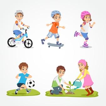 Conjunto de crianças brincando isolado no fundo branco. ilustração