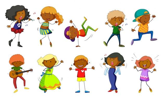 Conjunto de crianças cantando e dançando ilustração