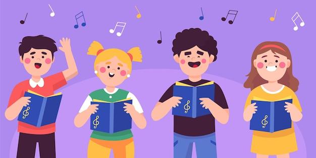 Conjunto de crianças cantando em um coro