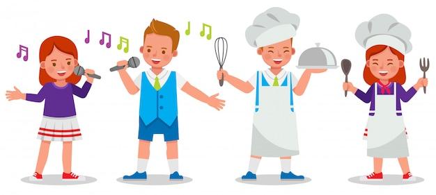 Conjunto de crianças caracteres chef e cantor