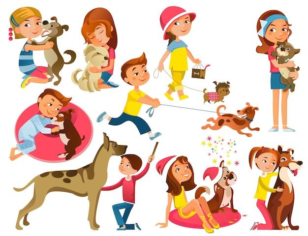 Conjunto de crianças com animais de estimação