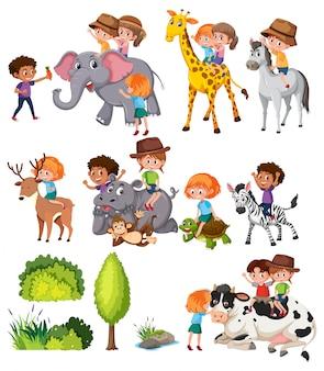 Conjunto de crianças com animais