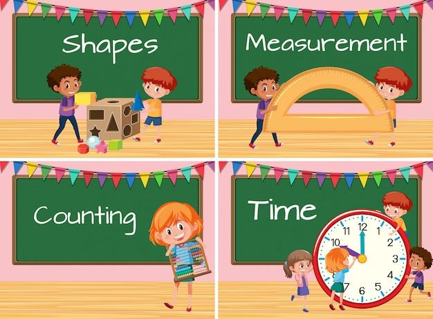 Conjunto de crianças com aula de matemática