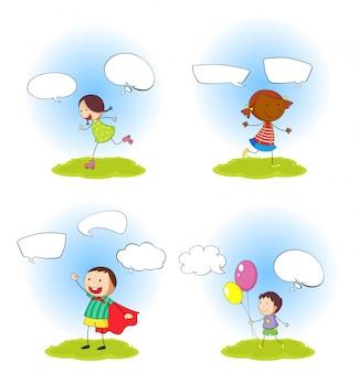 Conjunto de crianças com balão de discursos