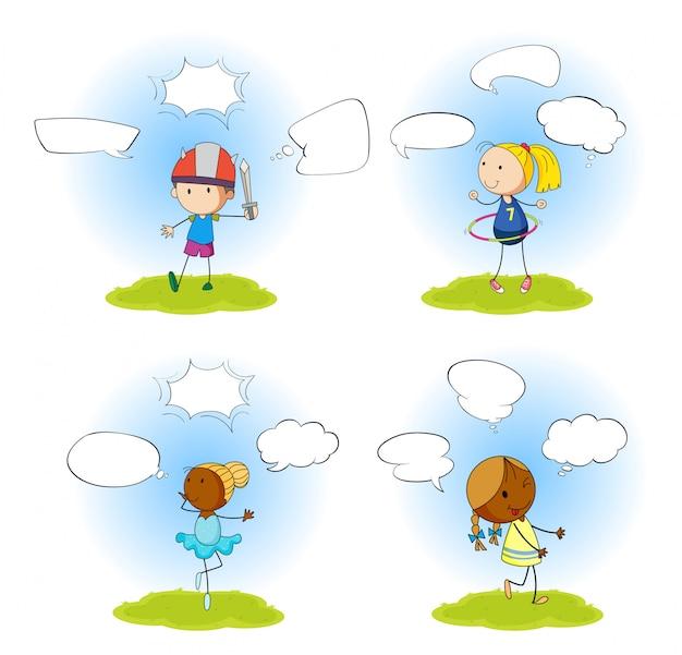 Conjunto de crianças com balão de fala