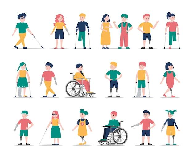 Conjunto de crianças com deficiência. coleção de personagens infantis com deficiência