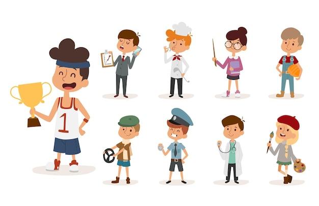 Conjunto de crianças com diferentes profissões
