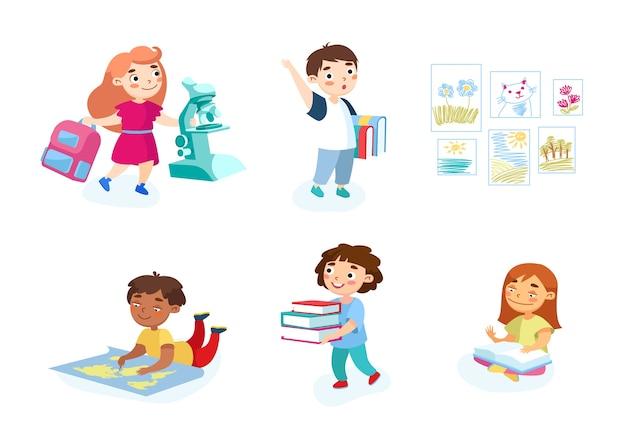 Conjunto de crianças com estudos