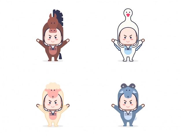 Conjunto de crianças com fantasias de animais