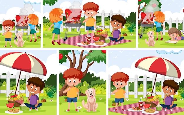 Conjunto de crianças com fundo ao ar livre