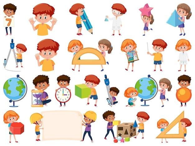 Conjunto de crianças com objetos educacionais isolados