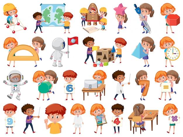 Conjunto de crianças com objetos educacionais