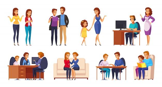 Conjunto de crianças com pais