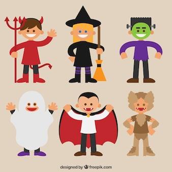 Conjunto de crianças com trajes engraçados