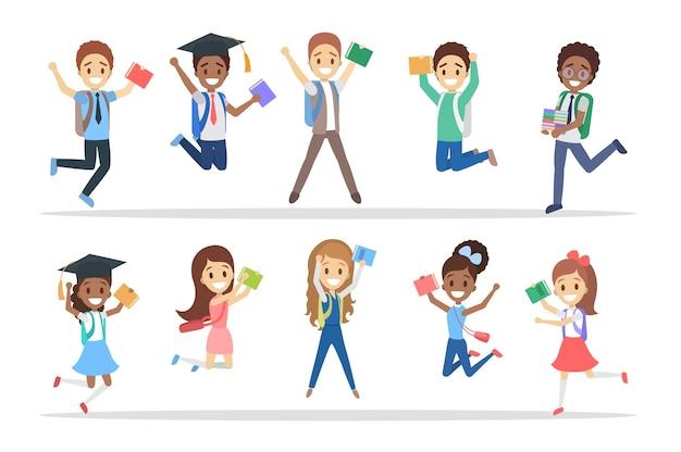 Conjunto de crianças da escola de salto bonitinho. grupo de meninos e meninas felizes com bolsas e livros se divertindo. ilustração em vetor plana isolada