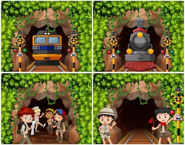 Conjunto de crianças de acampamento, explorando a natureza