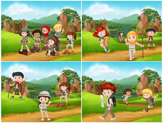 Conjunto de crianças de campismo na natureza