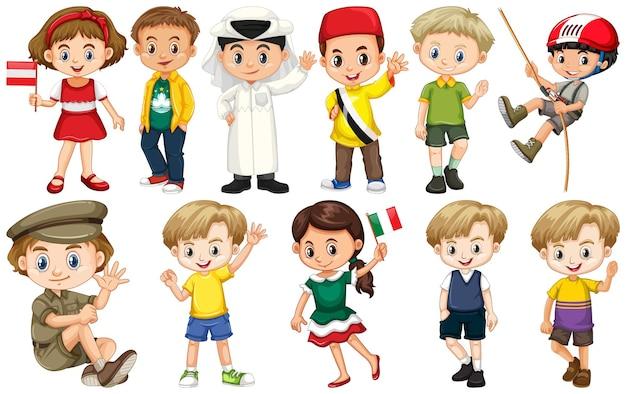 Conjunto de crianças de diferentes nacionalidades