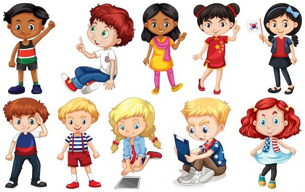 Conjunto de crianças de diferentes países