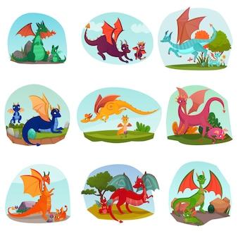 Conjunto de crianças de dragão de fadas