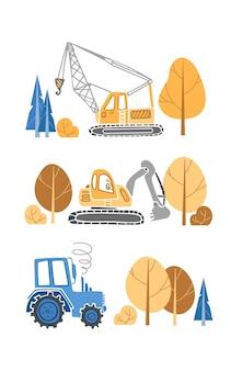 Conjunto de crianças de equipamento de construção, escavadeira, trator, guindaste, para meninos, em, um, estilo escandinavo