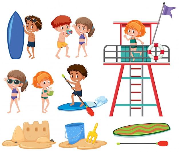 Conjunto de crianças de férias de verão