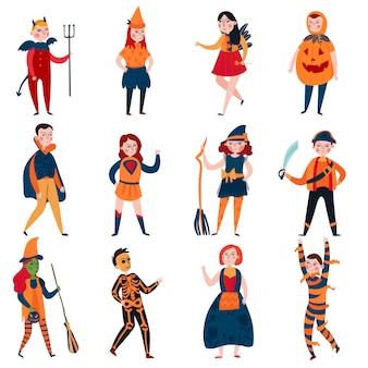Conjunto de crianças de halloween