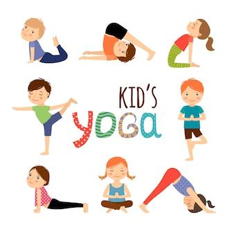 Conjunto de crianças de ioga
