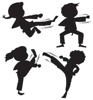 Conjunto de crianças de karatê de silhueta