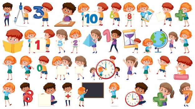 Conjunto de crianças de matemática