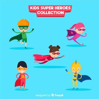 Conjunto de crianças de super-heróis