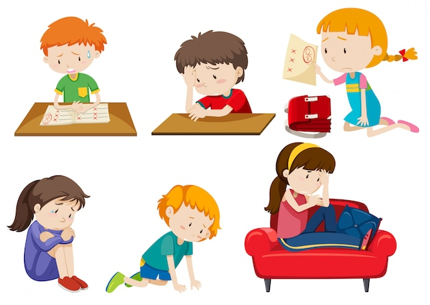 Conjunto de crianças deprimidas