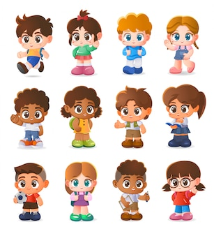 Conjunto de crianças, design de personagens, desenhos animados