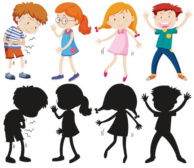 Conjunto de crianças diferentes com sua silhueta