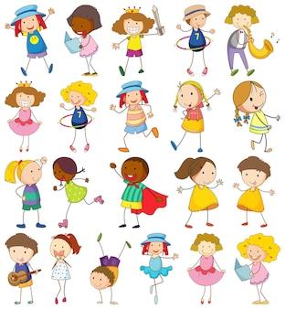 Conjunto de crianças diferentes em estilo doodle
