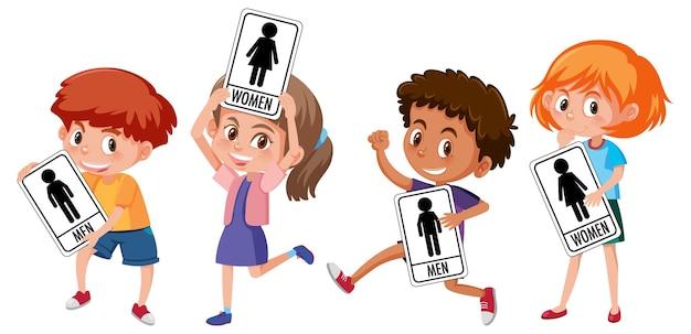 Conjunto de crianças diferentes segurando uma placa de banheiro isolada no fundo branco