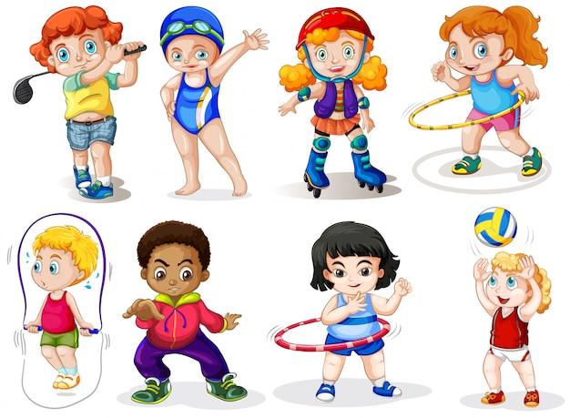 Conjunto de crianças do esporte