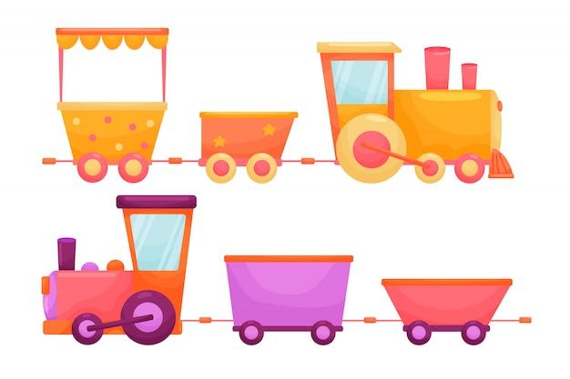 Conjunto de crianças dos desenhos animados treina com cores vivas. baiacu plana para crianças e animais em fundo branco isolado