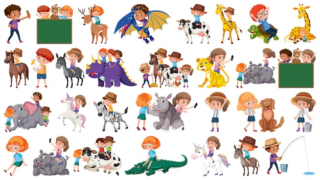 Conjunto de crianças e animais