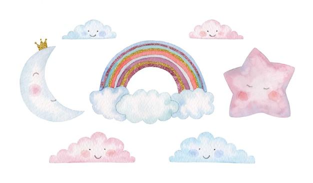 Conjunto de crianças em aquarela de arco-íris, estrela, lua e nuvens
