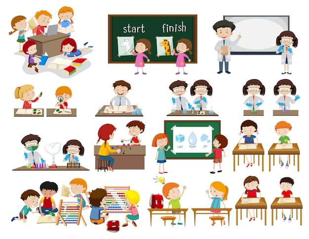 Conjunto de crianças em cenas de sala de aula