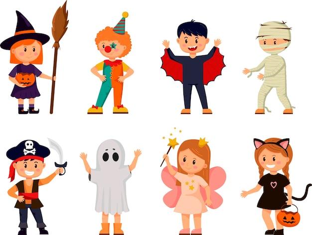 Conjunto de crianças em fantasias de halloween. coleção de crianças de desenhos animados em fantasias de carnaval.