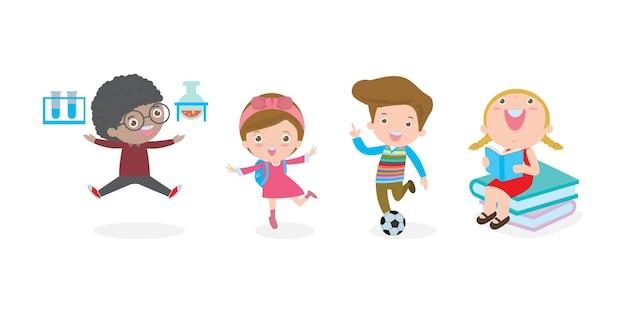 Conjunto de crianças em idade escolar no conceito de educação, de volta ao modelo de escola com as crianças, a criança vai à escola, de volta à escola, isolada no fundo branco ilustração.