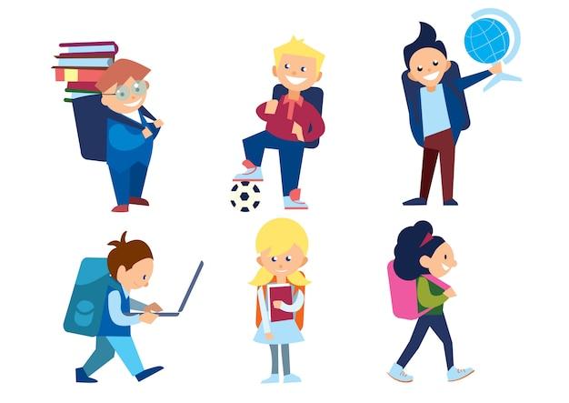 Conjunto de crianças em idade escolar