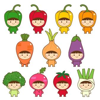 Conjunto de crianças em lindas fantasias de vegetais
