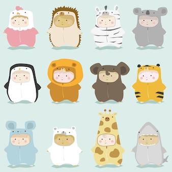 Conjunto de crianças em trajes de animais fofos