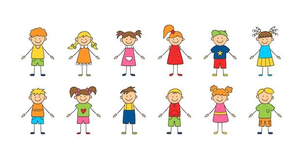 Conjunto de crianças engraçadas. crianças felizes e fofas do doodle. um conjunto de personagens isolados. ilustração vetorial desenhada à mão no fundo branco