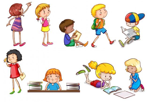 Conjunto de crianças fazendo atividades escolares