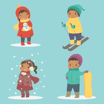 Conjunto de crianças felizes afro-americanas brincando no vetor de férias de inverno